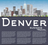 Denver Skyline with Gray Buildings, Blue Sky and Copy Space. Vector Illustration. Business Travel and Tourism Concept with Modern Buildings. Image for vector illustration