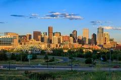 Denver skyline long exposure at twilight. Panorama of Denver skyline long exposure at twilight Stock Photos