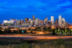 Denver skyline long exposure at twilight. Panorama of Denver skyline long exposure at twilight Stock Photography