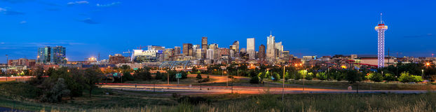 Denver skyline long exposure at twilight. Stock Photos