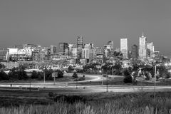 Denver skyline long exposure at twilight. Stock Image