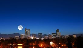 Denver Skyline with Moon Royalty Free Stock Photography