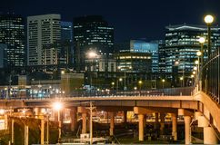 Denver Skyline at Night Royalty Free Stock Image