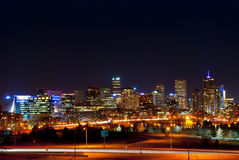 Denver Skyline at Night Royalty Free Stock Photography