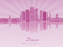 Denver skyline in purple radiant orchid Royalty Free Stock Image