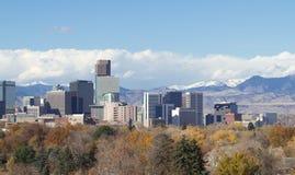 Denver Skyline and Rocky Mountains Stock Photo
