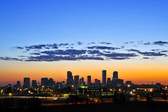 Denver Skyline Sunrise. Sunrise shot on a beautiful spring morning overlooking downtown Denver, Co Stock Photography