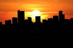 Denver skyline at sunset Royalty Free Stock Images