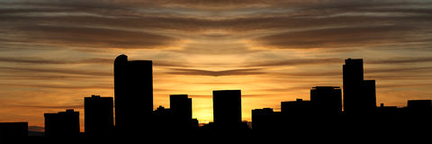 Denver skyline at sunset Royalty Free Stock Image