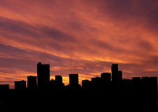 Denver skyline at sunset Stock Photos