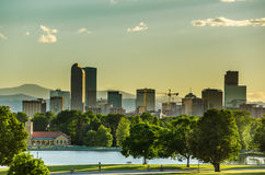 Denver Skyline at Sunset Stock Image