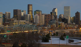 Denver Skyline at Sunset Stock Images