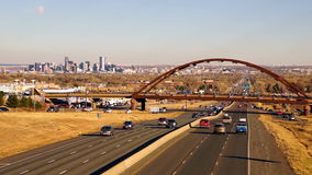 Denver Skyline Transit Train Bridge Colorado Landscape Highway stock video