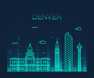 Denver skyline trendy vector illustration linear Royalty Free Stock Photo