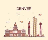 Denver skyline trendy vector illustration linear Royalty Free Stock Photography