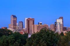 Denver Skyline At Twilight stock foto's