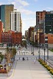 Denver-Skyline von der 16. Straße Stockbilder