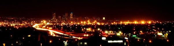 Denver-Stadt-Leuchten Stockfotografie