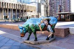 Denver Street Art - Geschilderde Koeien stock foto's