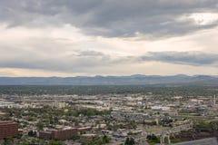 Denver suburbs and Rocky mountains in Colorado, USA stock photo