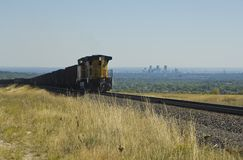 Denver Train. Colorado coal train with Denver skyline in the distance Stock Photos