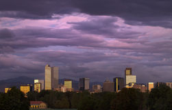 Denver under a Pink Sunrise Royalty Free Stock Image