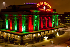 Denver Union Station Holiday Lights Lizenzfreies Stockbild