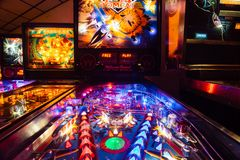 Denver, USA - September 12, 2017: Detail of a Pinball Arcade G royalty free stock photography