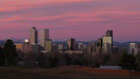 Denver van de binnenstad vóór Dawn Time-lapse stock video