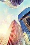 Denver-Wolkenkratzer bei Sonnenuntergang, USA Stockfoto