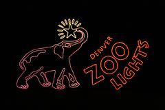Denver Zoo Lights Entry Sign. This is the entry sign for the Denver Zoo Lights display Royalty Free Stock Photo