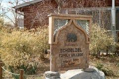 Denver zoo. Thai alfabet on the rock plate in the Denver zoo, Colorado stock image