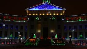 Denwerscy centrum administracyjno-kulturalne bożonarodzeniowe światła zdjęcie wideo