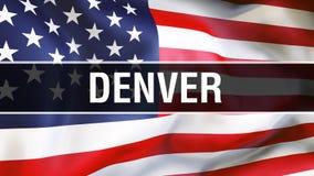 Denwerski miasto na usa flagi tle, 3D rendering Zlani stany Ameryka zaznaczają falowanie w wiatrze Dumny flagi amerykańskiej falo royalty ilustracja
