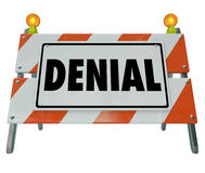 Deny Barricade Sign Rejection Answer Declined Forbidden Access. Denial word on a road construction barricade sign to block forbidden access and to illustrate Royalty Free Stock Photography