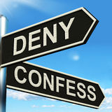 Deny Confess Signpost Means Refute Or Admit To Stock Photo