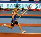Denys Yurchenko en las estrellas del salto con pértiga de Samsung Foto de archivo