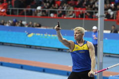 Denys Yurchenko on the Samsung Pole Vault Stars. Meeting on February 11, 2012 in Donetsk, Ukraine. He won bronze medal in the pole vault event at Summer Stock Photo
