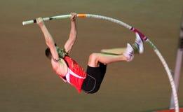Denys Yurchenko sur la cuvette ukrainienne en athlétisme Photo stock