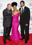 Denzel Washington, Pauletta Washington and Quincy Jones Stock Photos