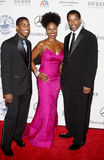Denzel Washington, Pauletta Washington und Malcolm Washington Lizenzfreie Stockfotos