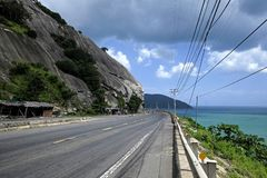View of empty road on Deo Ca pass. royalty free stock photo