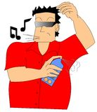 Deodorant. Drawing of a man throwing deodorant Royalty Free Stock Photo