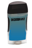 Deodorant. A blue deodorant container with lettering that says DEODORANT on the top Stock Photo