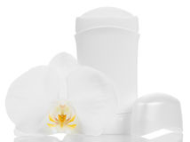 Deodorant and orchid Royalty Free Stock Image