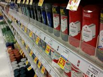 Deodorant Section in the Store Stock Photos