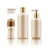 Deodorante, sciampo, bottiglia della crema per il corpo Fotografie Stock