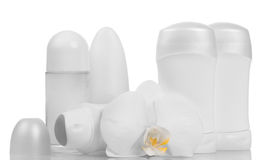 Deodorants and orchid flower Stock Photography