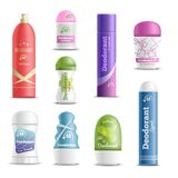 Deodorants Spray Sticks Realistic Set. Deodorants spray sticks and roll-on types antiperspirant personal hygiene products realistic objects set  vector Royalty Free Stock Photo