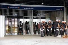 Deodoro-Bahnstation nahe Olympiapark 2016 Rios Deodoro Stockfotografie